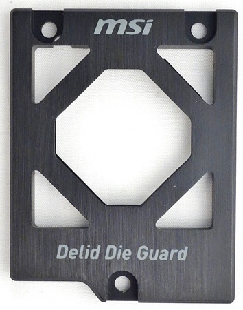 The delid CPU guard will protect the delidded processor, as well as provide mounting points for the CPU's cooling solution kit.