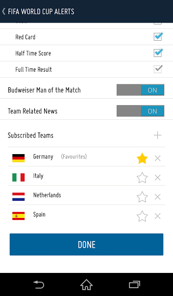 You can only pick one team (Germany in this example) during the app's setup, but you can add as many teams as you want (Italy, Netherlands, and Spain) to receive relevant updates.