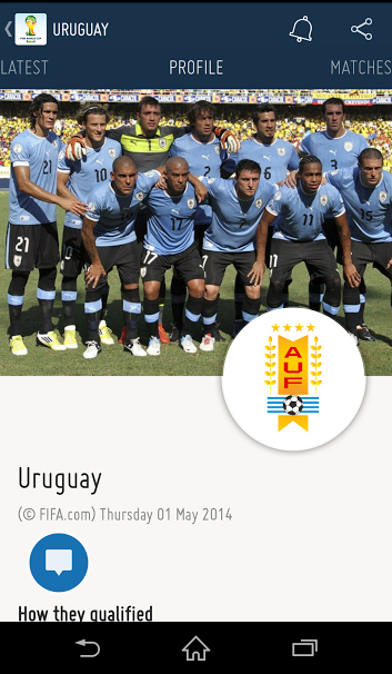 Choose a team (Uruguay in this case) and you'll have access to all related information. Simply swipe from right to left to navigate the tabs.