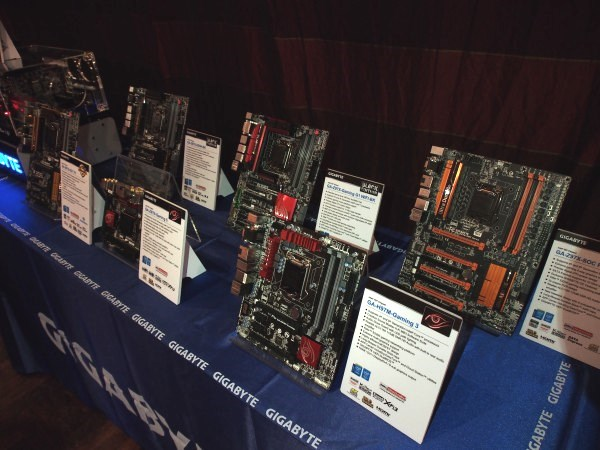 A sample range of new Gigabyte 9 Series boards. They've got everything from Full ATX to mini-ITX for all your DIY needs.