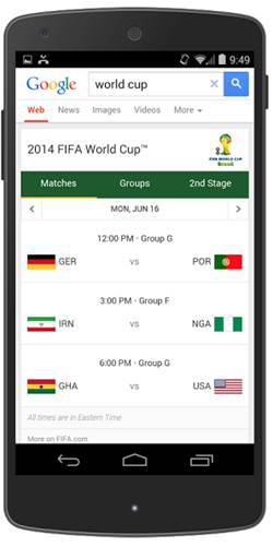 Be informed of daily match schedules with Google Search.