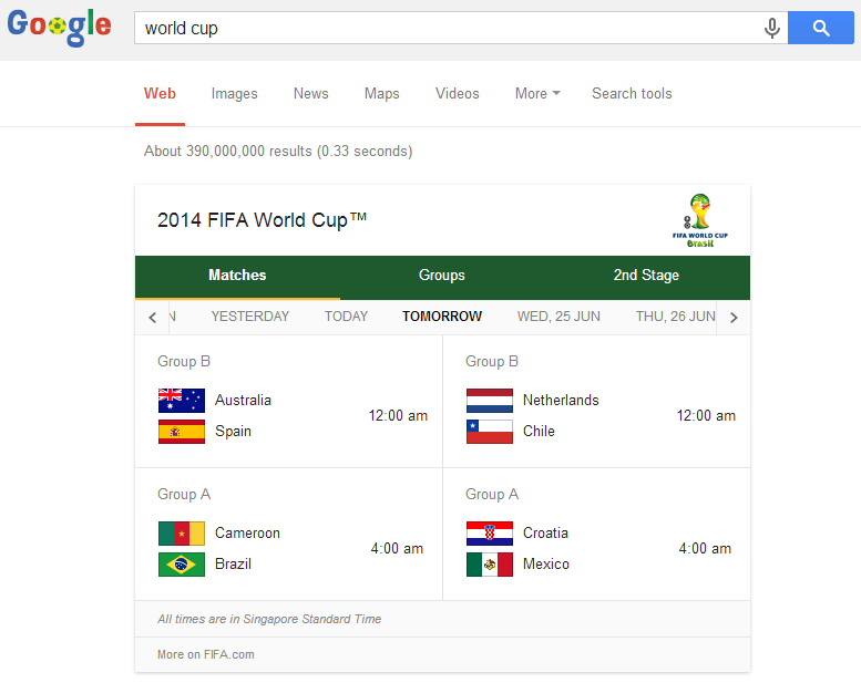 "Type ""World Cup"" in the search bar and voil-a! (Screengrabbed from Google Search.)"