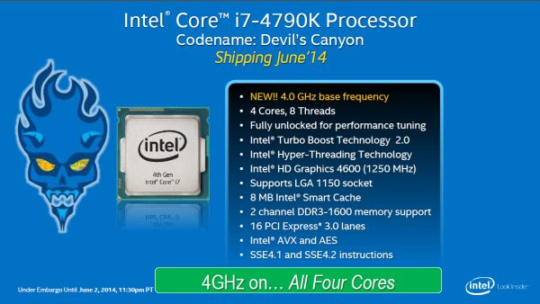 Intel debut its new Devil's Canyon CPU, the Core i7-4790K, during COMPUTEX Taipei this year.