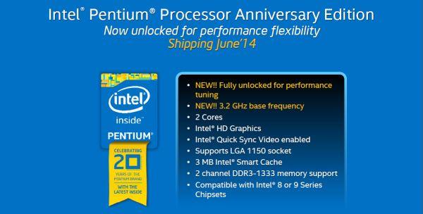 Intel has also announced a new unlockable Pentium CPU to celebrate the processor's 20th anniversary.