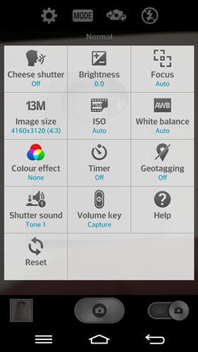Camera settings on the LG G2.