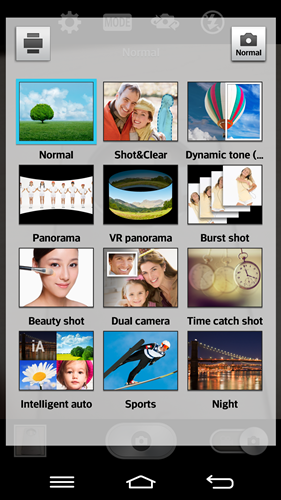 Camera modes on the LG G2.