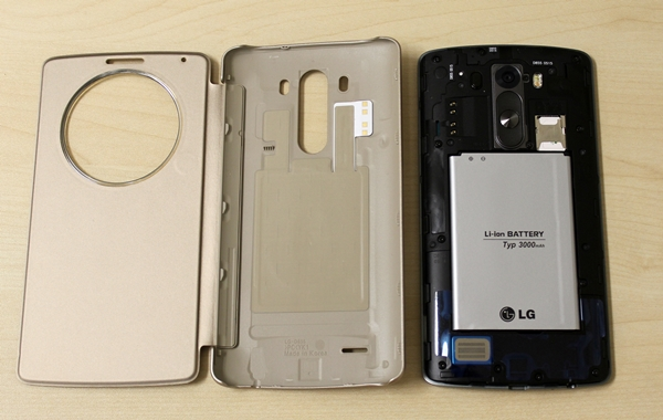 You have to remove the original rear cover to use the Quick Circle Case on the LG G3.