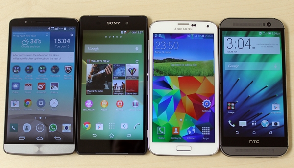 From left to right: 5.5-inch LG G3, 5.2-inch Sony Xperia Z2, 5.1-inch Samsung Galaxy S5 and 5-inch HTC One (M8).