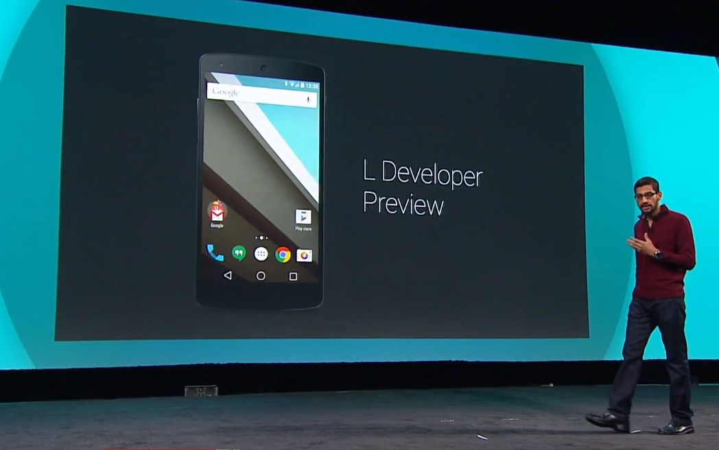 "Android chief, Sundar Pichai, introduced Android L as a ""fresh, bold, and new look."""