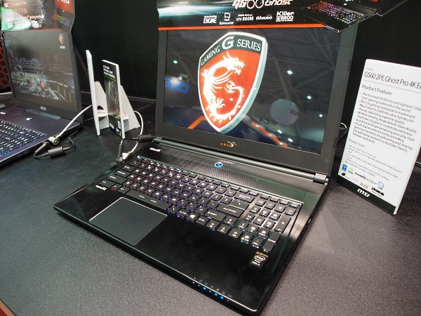 "The GS60 Ghost Pro, now with Intel Haswell and NVIDIA GeForce GTX 870M for extreme performance in an ultra lightweight, slim, sexy body. It also comes with a ""3K"" WQHD display. The 4K display seen here is just a technology demo."