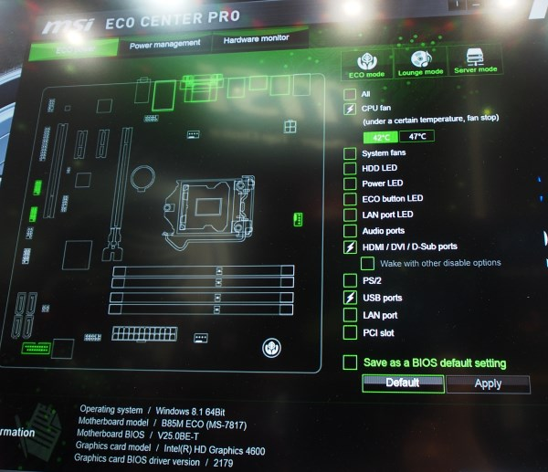The Eco Center Pro offers users better control over power use of the motherboard.