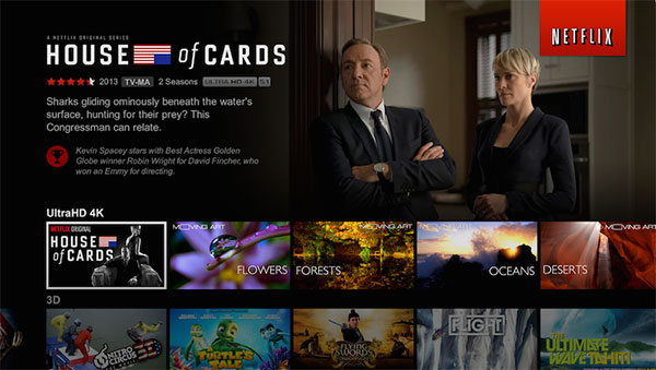 Netflix now streams some of its content (such as House of Cards) in 4K resolution. And ViewQwest says its network is ready. (Image source: Netflix.)