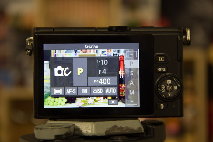 The usual shooting modes - Program, Aperture, Shutter and Manual are now available at a touch.