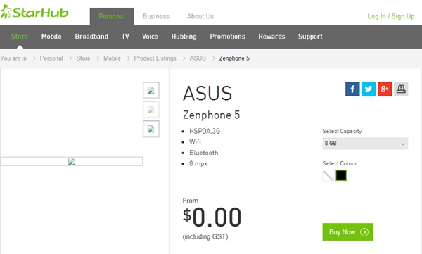 The white ASUS ZenFone 5 is out of stock at StarHub. <br>Image source: StarHub