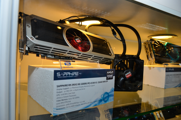 This is the Sapphire R9 295X2. There are four Mini DisplayPorts onboard, 8GB worth of memory, and is factory overclocked.