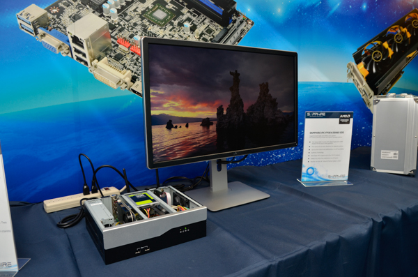 This is the Sapphire IPC-FP3E4/E8860 EDG system. It's pictured here driving the Dell 28-inch P2815Q monitor, which is natively 4K.