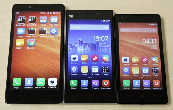 From left to right: Xiaomi Redmi Note, Mi 3 and the Redmi.