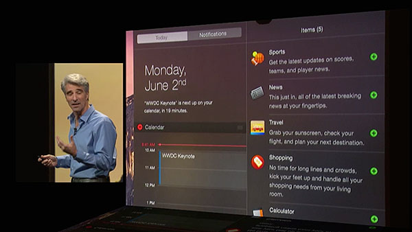 Notification Center on the Mac gets a new Today view, and it supports widgets.