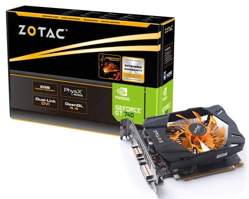The Zotac GeForce GT 740 2GB DDR5. (Image Source: Zotac)