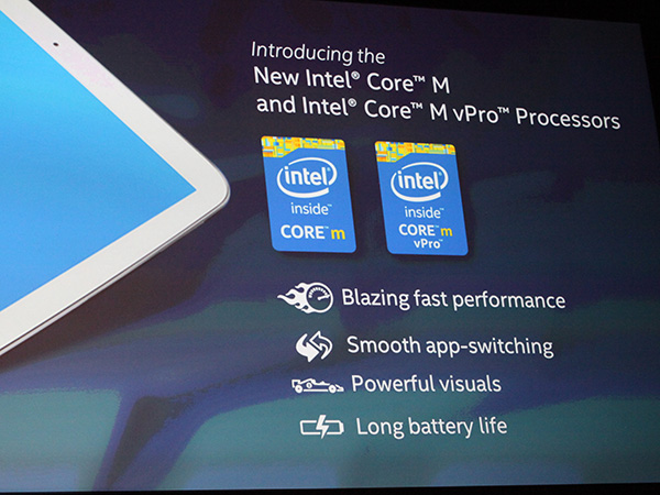 Intel introduced the new Core M processor that is their 5th generation Core product based on their latest 14nm process technology.