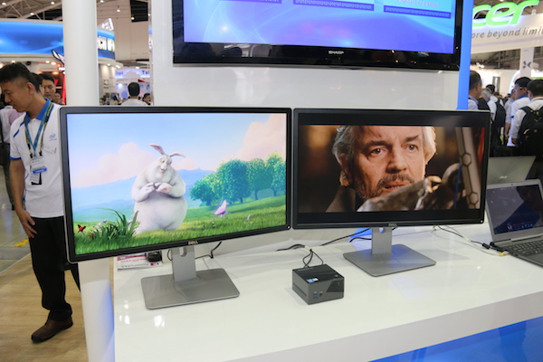 Powered by Iris Pro graphics, the BRIX Pro at Intel's booth easily plays two 4K videos on two Dell P2815Q 28-inch Ultra HD monitors.