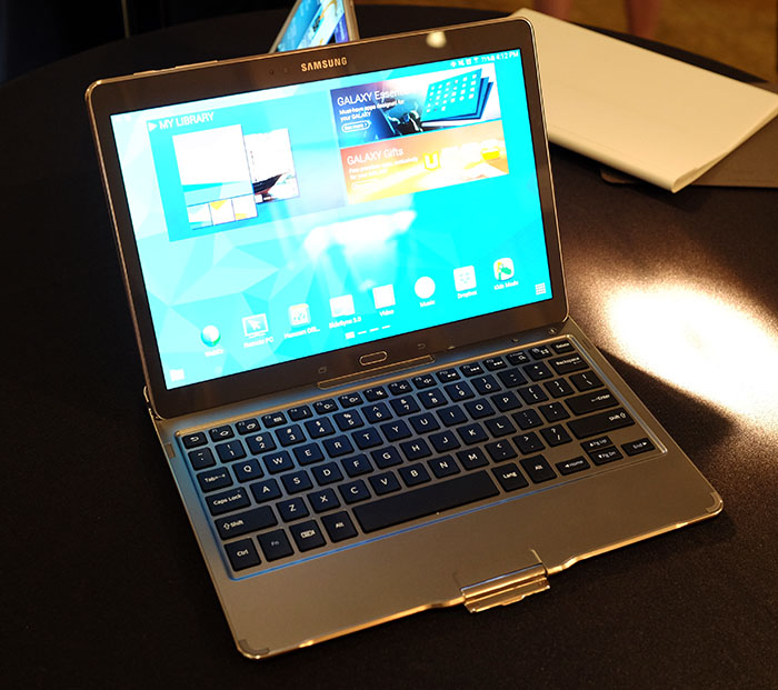 The keyboard case turns the Tab S into a 10.5-inch Android notebook.