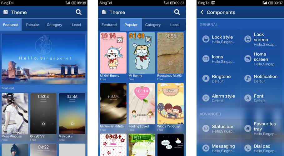 Barra mentioned that one of the things that he really liked about MIUI is its highly customizable theme. These are screenshots from our review of the Xiaomi Redmi.