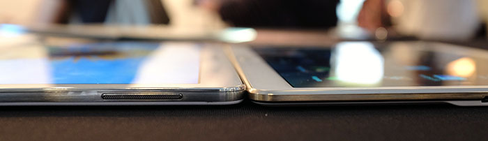 The 6.6mm Galaxy Tab S (right) is noticeably thinner than the 7.3mm Galaxy Tab Pro 10.1 (left).
