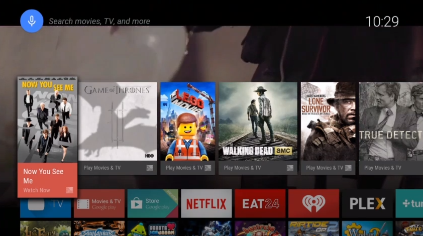 Android TV's UI looks quite similar to Google Play.