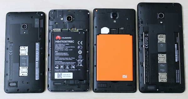 With their back covers removed, you can see that all the compared phones have dual SIM card support. From left to right: ASUS ZenFone 5, Huawei Honor 3X, Xiaomi Redmi Note and ASUS ZenFone 6.