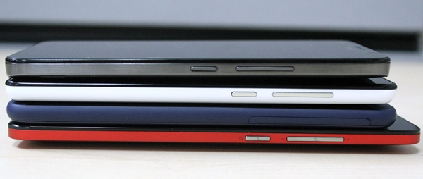 From top to bottom: Huawei Honor 3X, Xiaomi Redmi Note, HTC Desire 816 and ASUS ZenFone 6.