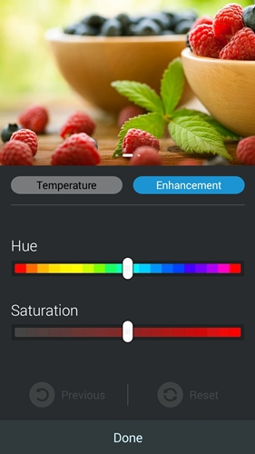 The hue and saturation of the display can also be adjusted according to your preferences.