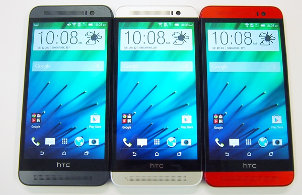 The HTC One (E8) is available in three colors: misty gray, polar white and electric crimson.