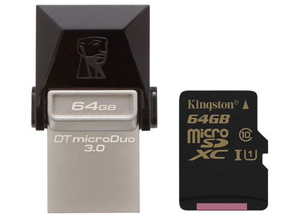 Kingston's new DataTraveler microDuo 3.0 and Class 10 UHS-I 90R/45W microSDHC/SDXC card. (Image source: Kingston.)