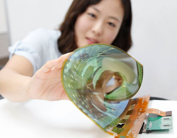 LG's flexible and rollable OLED panel. (Image source: LG Display.)