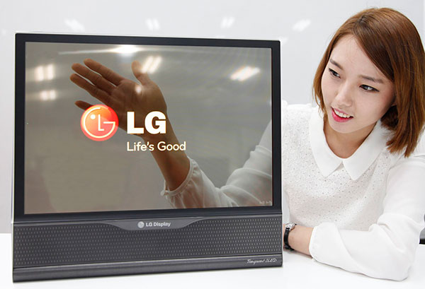 This isn't some magic trick, but an LG transparent OLED panel. (Image source: LG Display.)