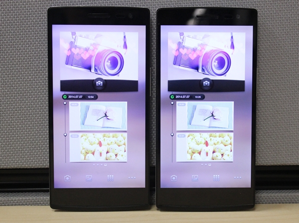 The Oppo Find 7 series consists of the Find 7 and Find 7A. Can you tell which is which in this photo?