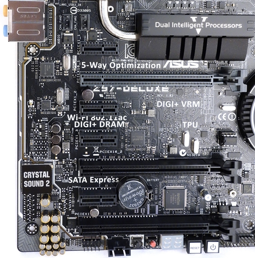 There is a pair of PCIe 3.0 x16 slots that can support up to quad-GPU CrossfireX/SLI configurations. Together with its third x16 slot that offers only PCIe 2.0 lanes at x4 mode, it can support a 3-way CrossFireX setup; however, its x4 operating mode isn't able to support SLI.
