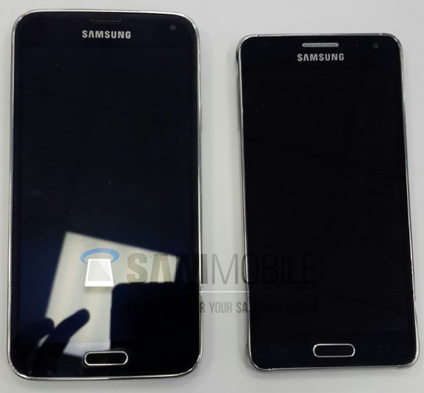 The Samsung Galaxy Alpha (right) is believed to be one of the two upcoming high-end phones. <br> Image source: SamMobile
