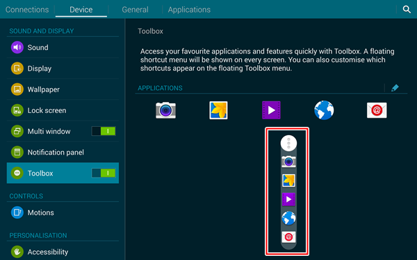 Toolbox is a floating shortcut menu that is designed to give you quick access to five apps.