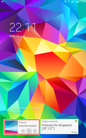 The music widget at the bottom left corner of the lock screen for easy access.