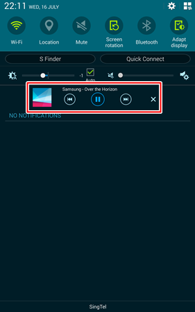 You can control music playback from the notification panel.
