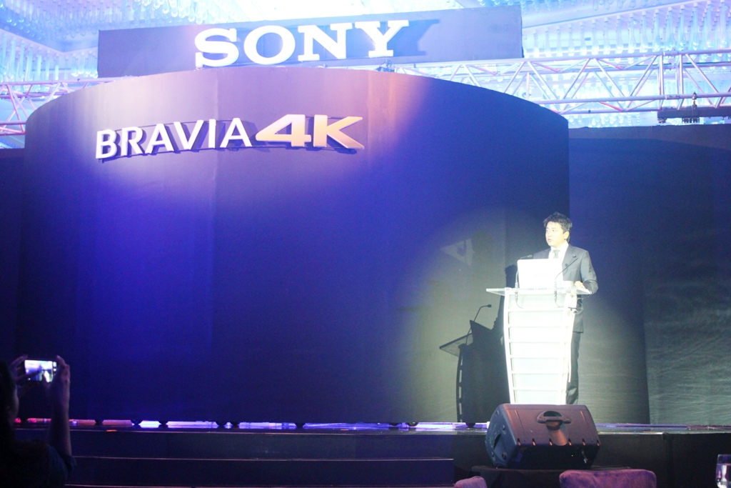Nobuyoshi Otake, President and Managing Director of Sony Philippines, during the opening remarks of the Sony Bravia 4K TVs launch.