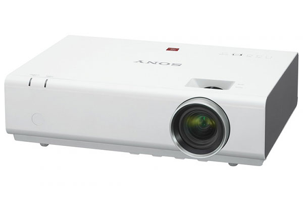 The flagship model in the E-series, the VPL-EW295 is a 3,800-lumen WXGA portable projector with wireless connectivity and a recommended lamp replacement time of 10,000 hours.