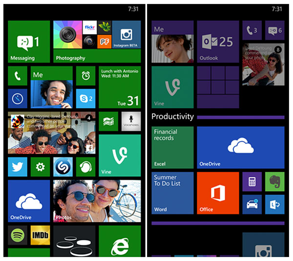Folder support are finally coming to the Windows Phone Start screen. (Image source: Microsoft.)