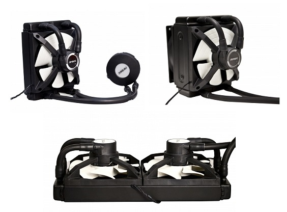 Clockwise from left:- the Kühler H2O 650, Kühler H2O 950 and the Kühler H2O 1250. As you can see, the main difference between them are the radiator sizes and cooling power.