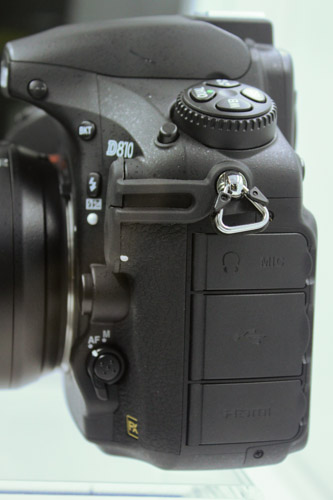 The left side of the camera is slightly different from the D800, with an additional flap for the mic input.