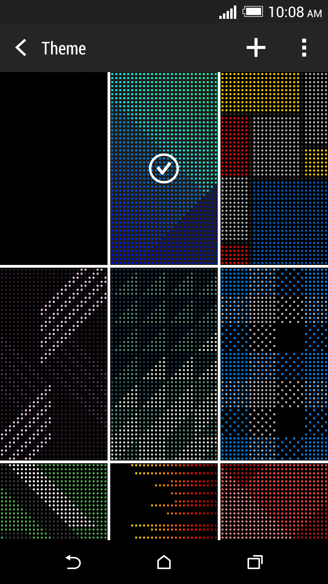 Default themes of the HTC Dot View app. <br> Image source: HTC