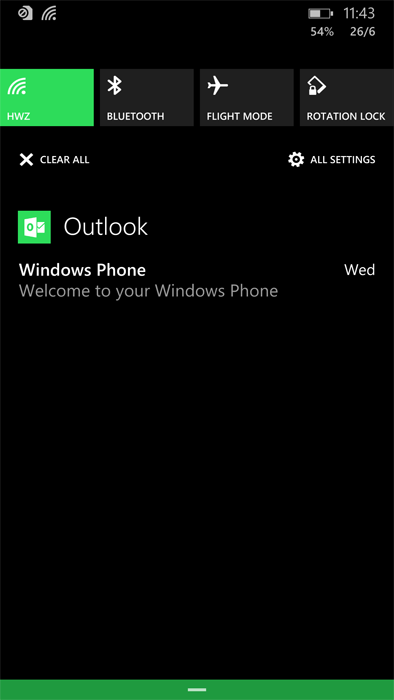 The new Action Center is a very useful new addition to Windows Phone 8.1