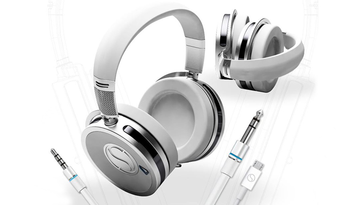 The SoundStage headphones have quite a striking design. (Pictured in titanium above).